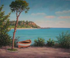 Scogliera con barca e pino