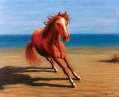 Cavallo rosso sulla spiaggia